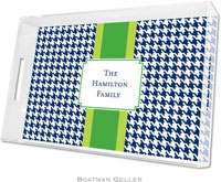 Boatman Geller Lucite Trays - Alex Houndstooth Navy (Large)