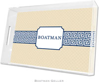 Boatman Geller Lucite Trays - Greek Key Band Navy (Large)