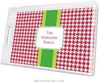Boatman Geller Lucite Trays - Alex Houndstooth Red (Large)
