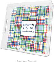 Boatman Geller Lucite Trays - Madras Patch Blue (Square - Panel)