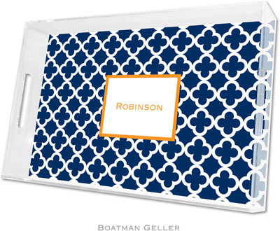 Boatman Geller - Create-Your-Own Personalized Lucite Trays (Bristol Tile Navy - Large)