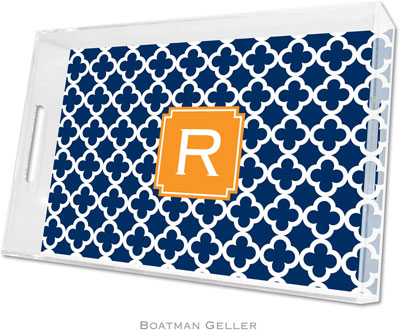 Boatman Geller - Create-Your-Own Personalized Lucite Trays (Bristol Tile Navy Preset - Large)