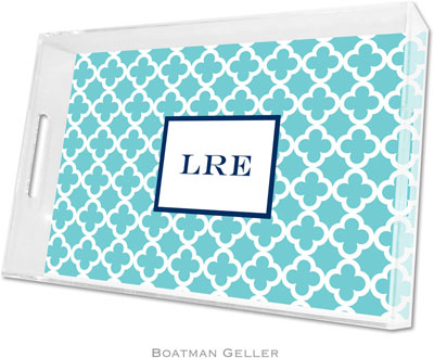 Boatman Geller - Create-Your-Own Personalized Lucite Trays (Bristol Tile Teal - Large)
