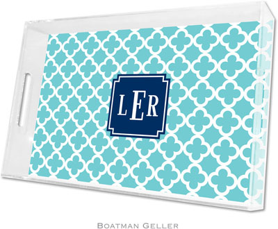 Boatman Geller - Create-Your-Own Personalized Lucite Trays (Bristol Tile Teal Preset - Large)