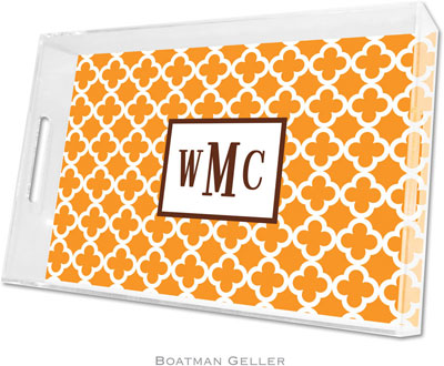 Boatman Geller - Create-Your-Own Personalized Lucite Trays (Bristol Tile Tangerine - Large)