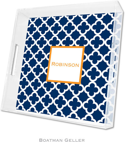 Boatman Geller - Create-Your-Own Personalized Lucite Trays (Bristol Tile Navy - Square)