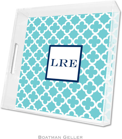 Boatman Geller - Create-Your-Own Personalized Lucite Trays (Bristol Tile Teal - Square)