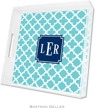 Boatman Geller - Create-Your-Own Personalized Lucite Trays (Bristol Tile Teal Preset - Square)