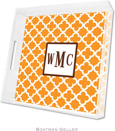 Boatman Geller - Create-Your-Own Personalized Lucite Trays (Bristol Tile Tangerine - Square)