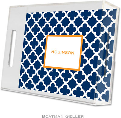 Boatman Geller - Create-Your-Own Personalized Lucite Trays (Bristol Tile Navy - Small)