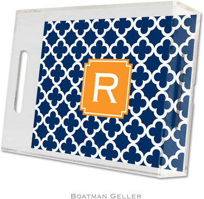 Boatman Geller - Create-Your-Own Personalized Lucite Trays (Bristol Tile Navy Preset - Small)