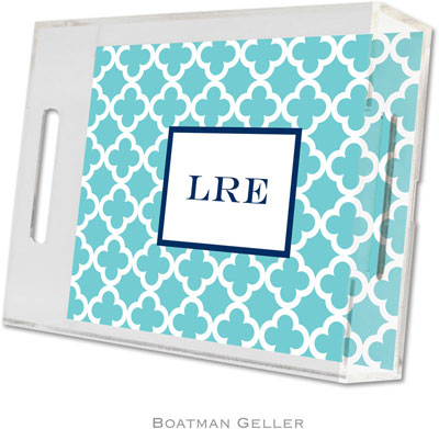 Boatman Geller - Create-Your-Own Personalized Lucite Trays (Bristol Tile Teal - Small)
