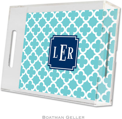 Boatman Geller - Create-Your-Own Personalized Lucite Trays (Bristol Tile Teal Preset - Small)