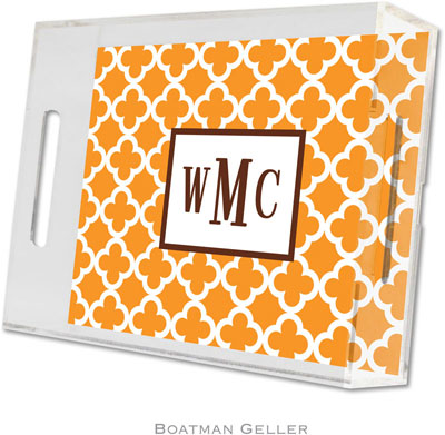 Boatman Geller - Create-Your-Own Personalized Lucite Trays (Bristol Tile Tangerine - Small)