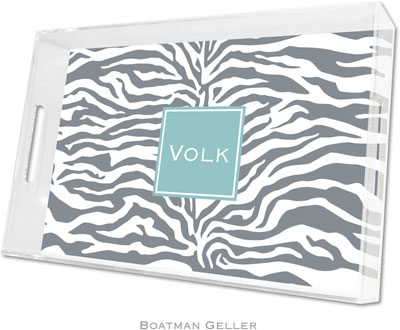 Boatman Geller - Create-Your-Own Personalized Lucite Trays (Zebra Gray Preset - Large)