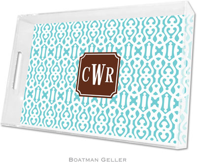 Boatman Geller - Create-Your-Own Personalized Lucite Trays (Cameron Teal Preset - Large)