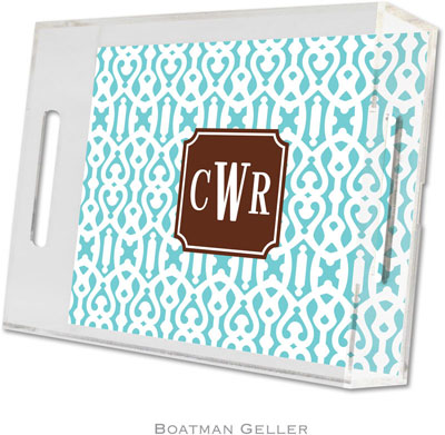 Boatman Geller - Create-Your-Own Personalized Lucite Trays (Cameron Teal Preset - Small)