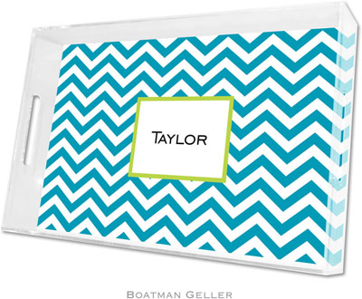Boatman Geller - Create-Your-Own Personalized Lucite Trays (Chevron Turquoise - Large)