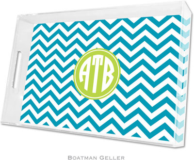 Boatman Geller - Create-Your-Own Personalized Lucite Trays (Chevron Turquoise Preset - Large)
