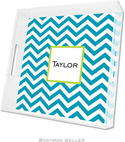 Boatman Geller - Create-Your-Own Personalized Lucite Trays (Chevron Turquoise - Square)