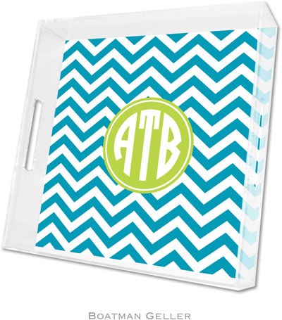 Boatman Geller - Create-Your-Own Personalized Lucite Trays (Chevron Turquoise Preset - Square)