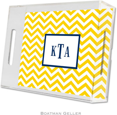 Boatman Geller - Create-Your-Own Personalized Lucite Trays (Chevron Sunflower - Small)