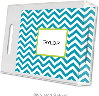 Boatman Geller - Create-Your-Own Personalized Lucite Trays (Chevron Turquoise - Small)