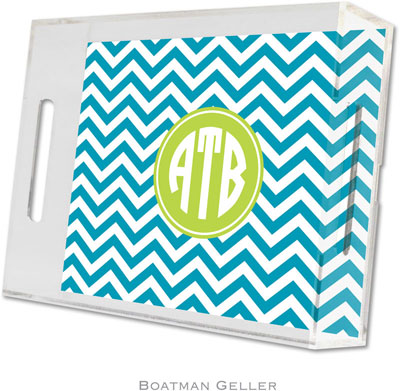Boatman Geller - Create-Your-Own Personalized Lucite Trays (Chevron Turquoise Preset - Small)