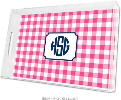 Boatman Geller - Create-Your-Own Personalized Lucite Trays (Classic Check Raspberry - Large)