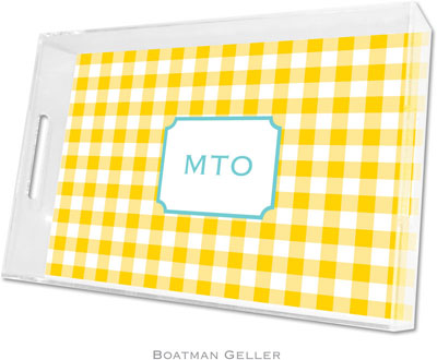 Boatman Geller - Create-Your-Own Personalized Lucite Trays (Classic Check Sunflower - Large)