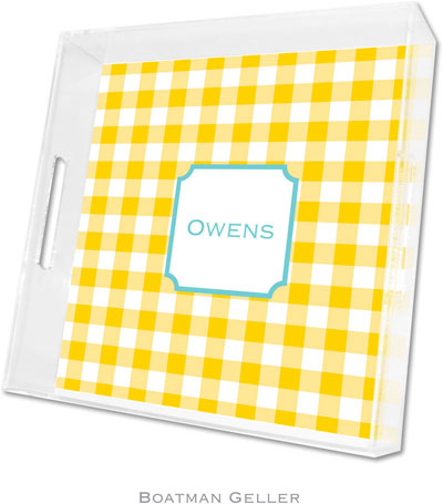 Boatman Geller - Create-Your-Own Personalized Lucite Trays (Classic Check Sunflower - Square)