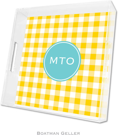 Boatman Geller - Create-Your-Own Personalized Lucite Trays (Classic Check Sunflower Preset - Square)