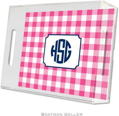 Boatman Geller - Create-Your-Own Personalized Lucite Trays (Classic Check Raspberry - Small)