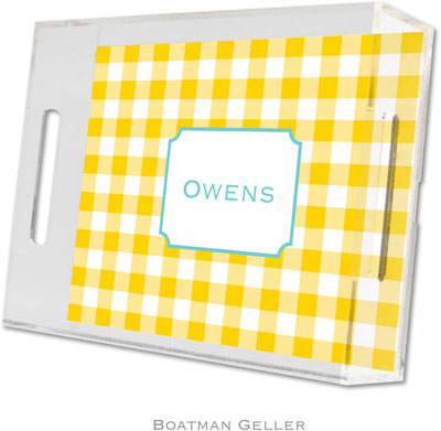 Boatman Geller - Create-Your-Own Personalized Lucite Trays (Classic Check Sunflower - Small)
