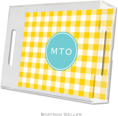 Boatman Geller - Create-Your-Own Personalized Lucite Trays (Classic Check Sunflower Preset - Small)