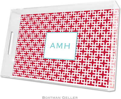 Boatman Geller - Create-Your-Own Personalized Lucite Trays (Lattice Cherry - Large)