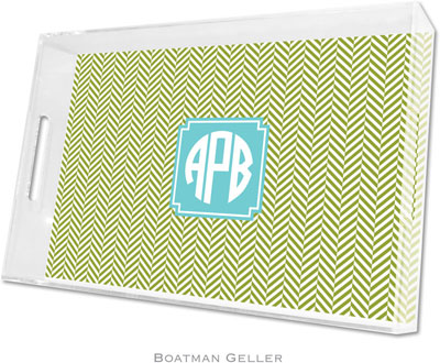 Boatman Geller - Create-Your-Own Personalized Lucite Trays (Herringbone Jungle Preset - Large)