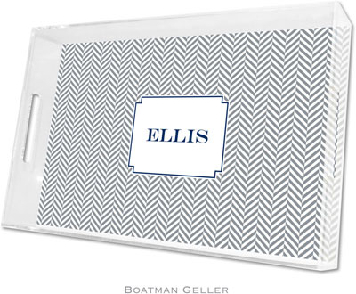 Boatman Geller - Create-Your-Own Personalized Lucite Trays (Herringbone Gray - Large)