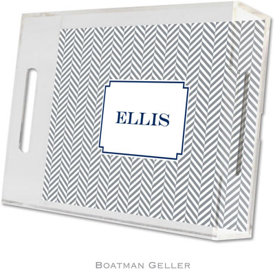 Boatman Geller - Create-Your-Own Personalized Lucite Trays (Herringbone Gray - Small)