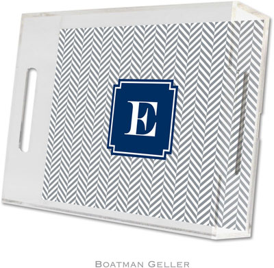 Boatman Geller - Create-Your-Own Personalized Lucite Trays (Herringbone Gray Preset - Small)