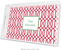 Boatman Geller Lucite Trays - Trellis Reverse Cherry (Large - Panel)