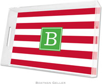 Boatman Geller Lucite Trays - Awning Stripe Red (Large - Pre-Set)
