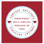 Take Note Designs Valentine's Day Address Labels - Special Delivery Red & Aqua