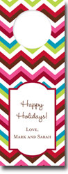 Boatman Geller - Personalized Wine Bottle Tags (Chevron Holiday)