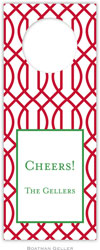 Boatman Geller - Personalized Wine Bottle Tags (Trellis Reverse Cherry)